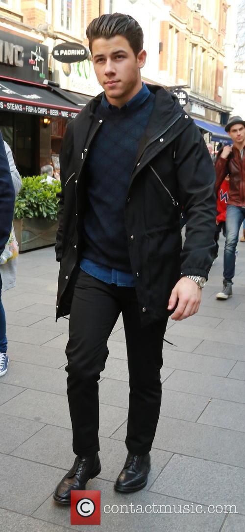 Nick Jonas arriving at Global Radio studios