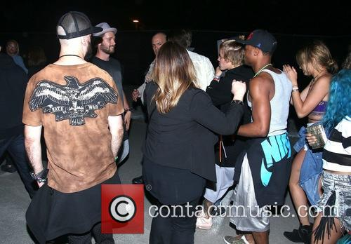 Justin Bieber arriving at the Neon after party