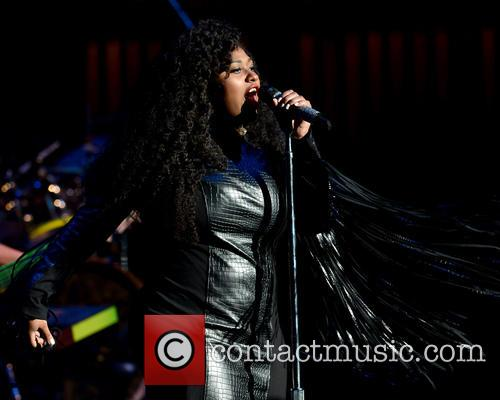 Jazmine Sullivan performing onstage during her 'Reality Show...