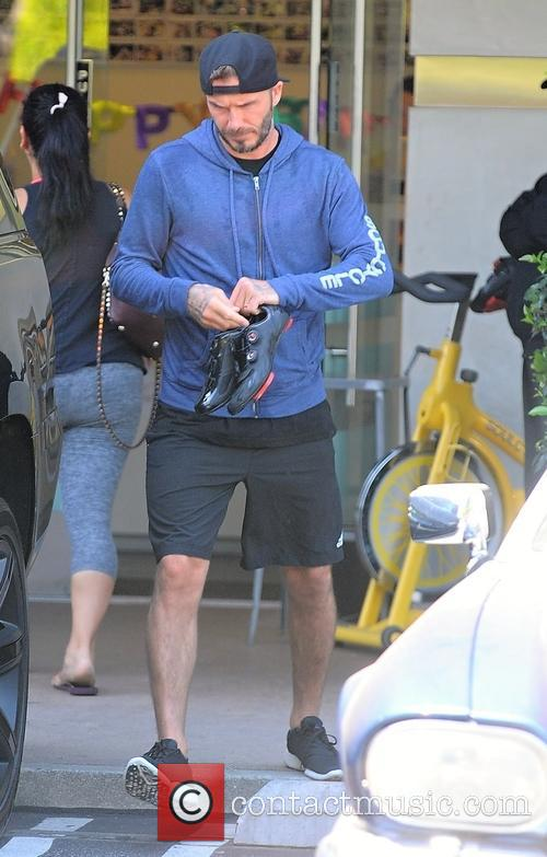 David Beckham leaves a gym in Brentwood