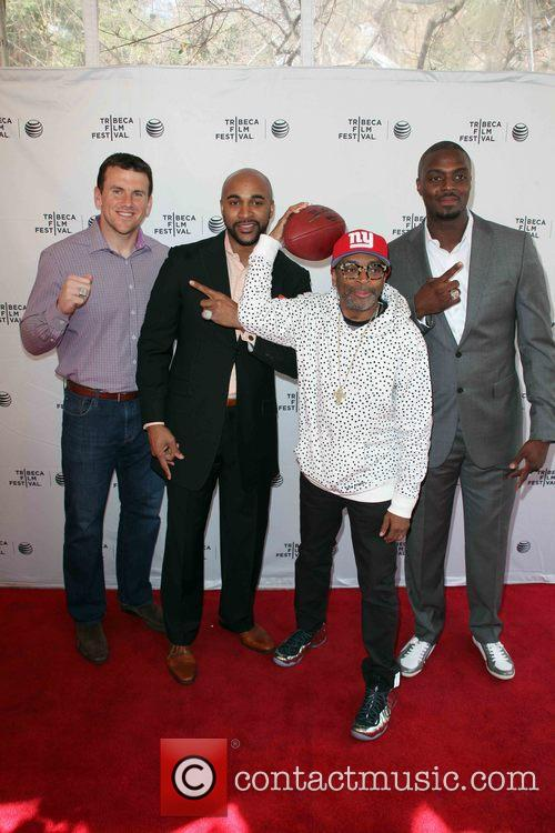 (l-r) Chris Snee, David Tyree, Spike Lee and Plaxico Burress 3