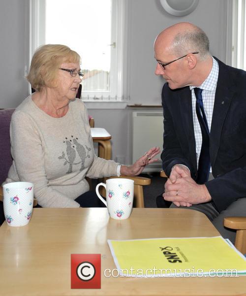 Deputy First Minister John Swinney campaigns in Livingston