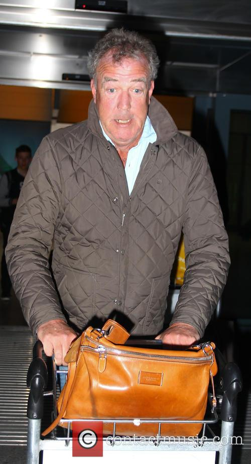 Jeremy Clarkson arriving at London Heathrow Airport with...
