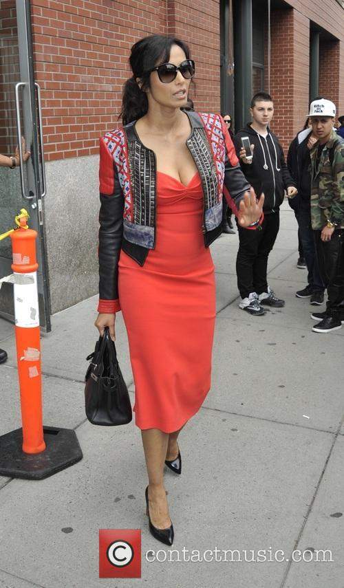 Padma Lakshmi leaving her apartment in New York...