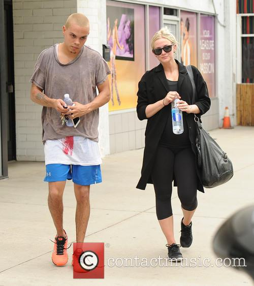 Ashlee Simpson and Evan Ross finish a workout...