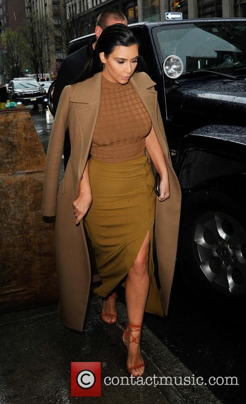 Kim Kardashian leaving a restaurant in New York...