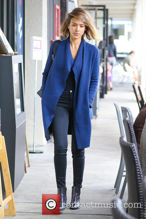 Jessica Alba spotted leaving a hair salon at...