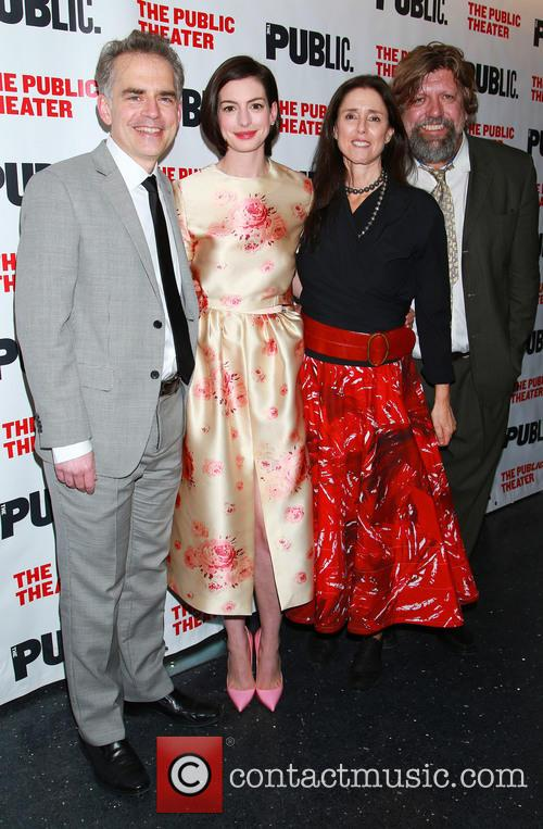 George Brant, Anne Hathaway, Julie Taymor and Oskar Eustis 2