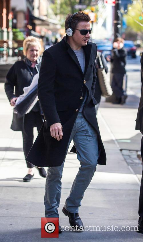 Jeremy Renner leaving his hotel in New York...