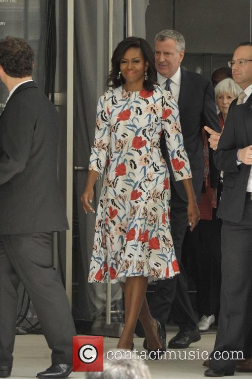 Michelle Obama and Mayor Bill Deblasio 8