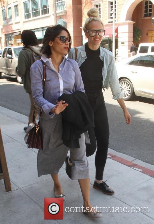 Freida Pinto shopping with a friend