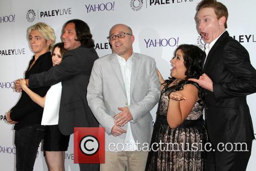 Co-creator/producer Heath Seifert, Laura Morano, Ross Lynch, Calum Worthy, Raini Rodriguez and Co-creator/producer Kevin Kopelow 4