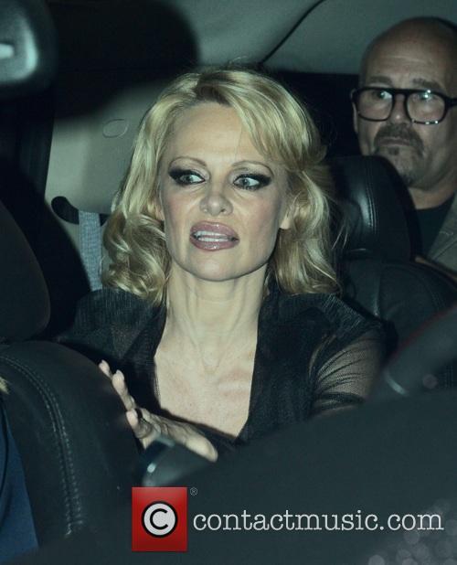 Pamela Anderson leaves Crossroads Vegan Restaurant