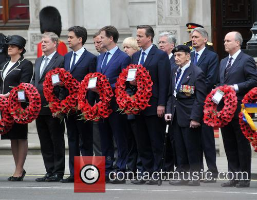 Northern Ireland Minister Arlene Foster, Boris Johnson, Ed Miliband, Nick Clegg and David Cameron 2