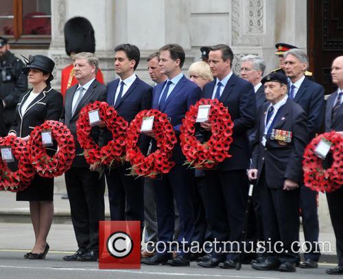 Northern Ireland Minister Arlene Foster, Boris Johnson, Ed Miliband, Nick Clegg and David Cameron 3