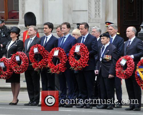 Northern Ireland Minister Arlene Foster, Boris Johnson, Ed Miliband, Nick Clegg and David Cameron 1