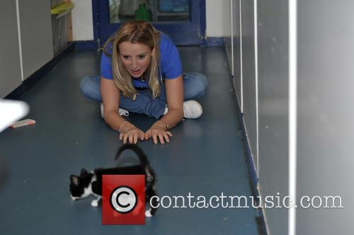 Carley Stenson promoting the Cats Protection's Birmingham Adoption...