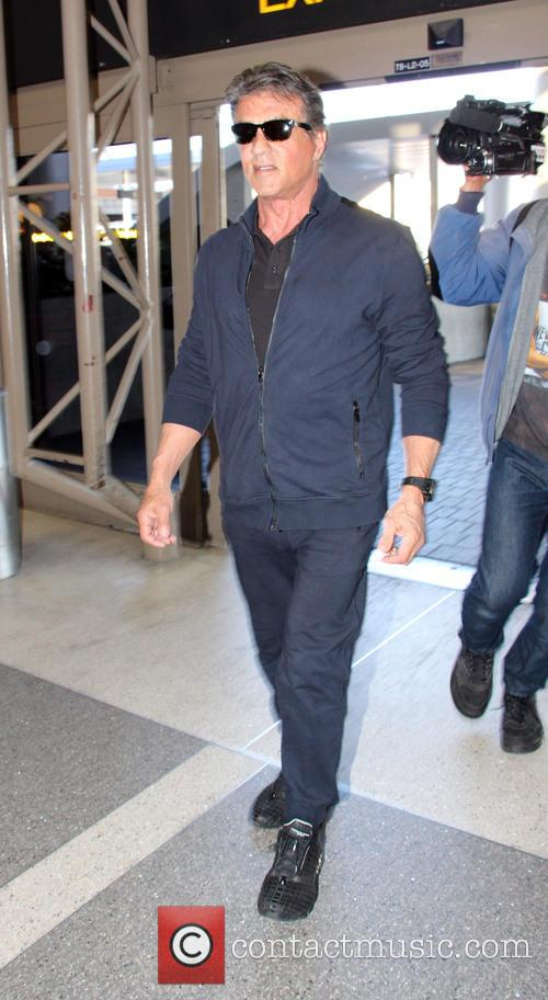 Sylvester Stallone arrives at Los Angeles International Airport