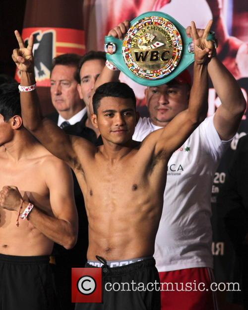 Boxers Edgar Sosa and Roman Gonzalez weigh-in ahead...