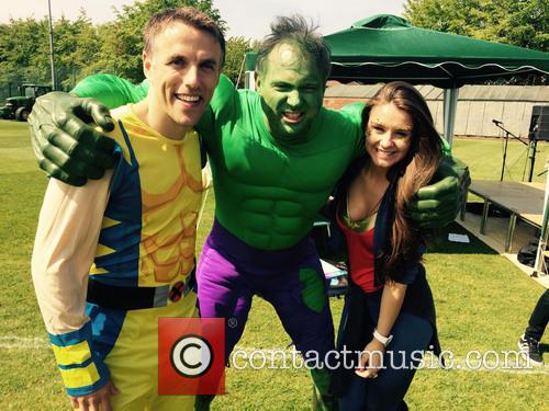 Phil Neville, John Leslie and Brooke Vincent