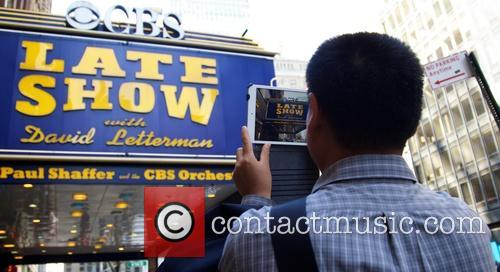The marquee sign for CBS show 'Late Show...