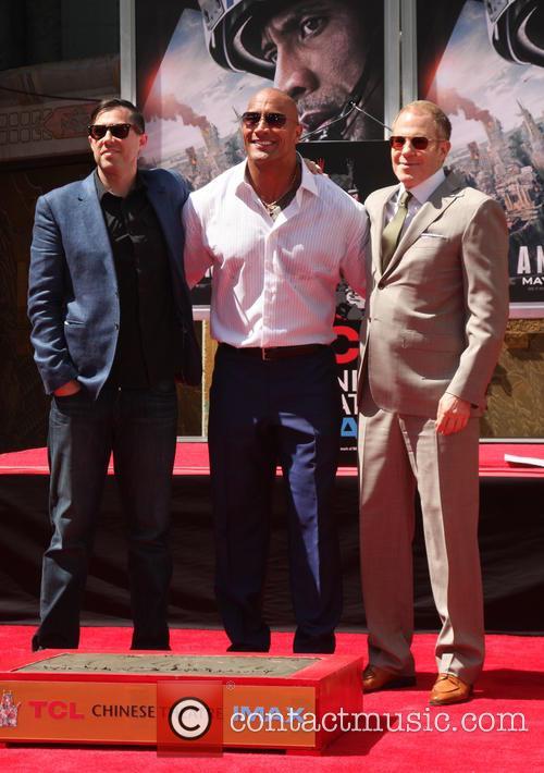 Brad Peyton, Dwayne Johnson and Toby Emmerich 1