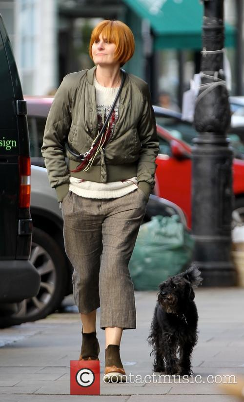 Mary Portas walking her dog in Primrose Hill