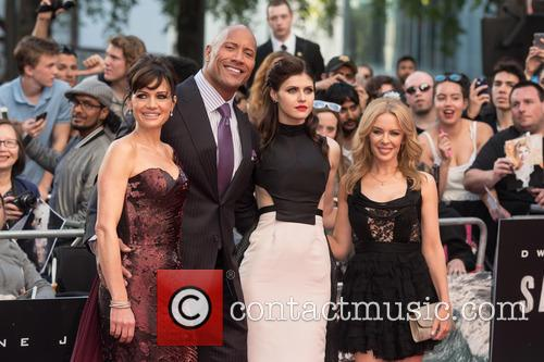 Kylie Minogue, Carla Gugino, Alexandra Daddario and Dwayne Johnson 11