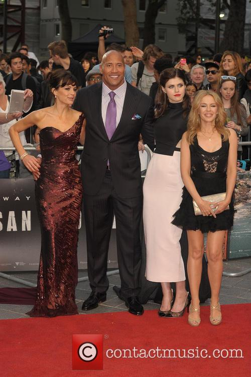 Carla Gugino, Dwayne Johnson, Alexandra Daddario and Kylie Minogue 2