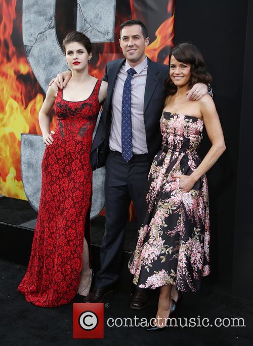 Alexandra Daddario, Brad Peyton and Carla Gugino