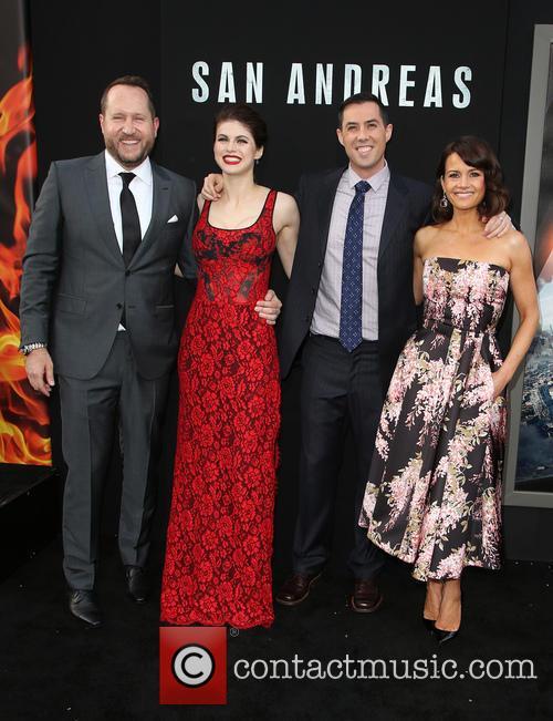 Beau Flynn, Alexandra Daddario, Brad Peyton and Carla Gugino