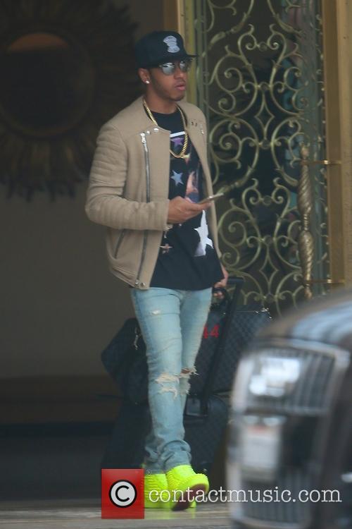 Lewis Hamilton seen leaving his hotel