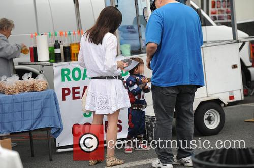 Selma Blair and her son at the Farmers...