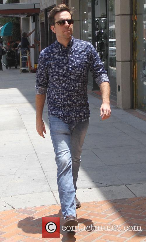 Ed Helms leaves an office in Beverly Hills