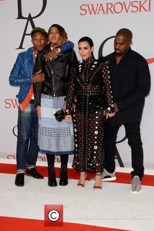 Pharrell Williams, Helen Lasichanh, Kanye West and Kim Kardashian 3