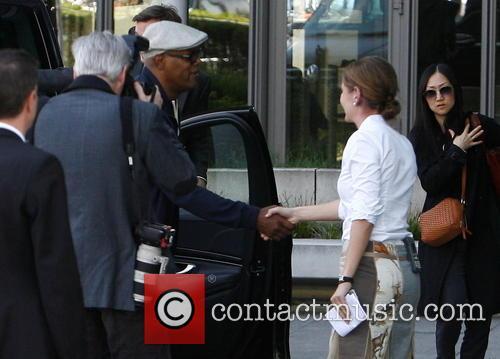 Samuel L. Jackson arriving at Axel Springer building...