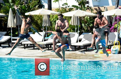 TOWIE lads make a splash in the pool...