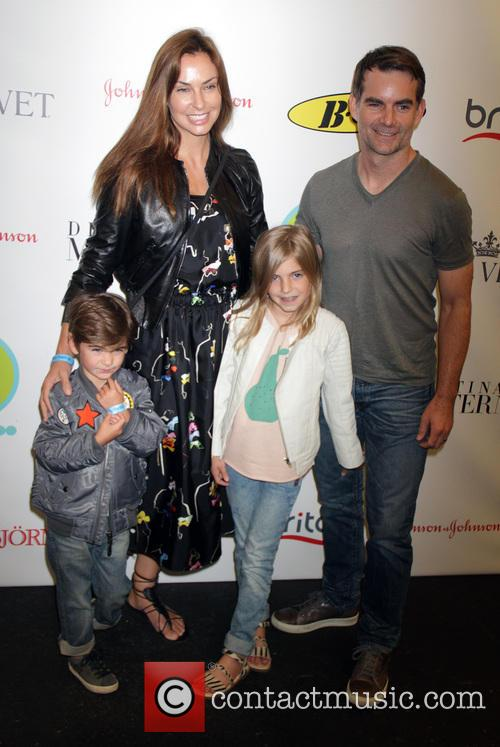 Jeff Gordon, Ingrid Vanebosch, Leo Gordon and Ella Gordon 1