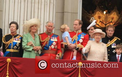 Anne, Princess Royal, Charles, Prince Of Wales, Camilla, Duchess Of Cornwall, Prince William, Duke Of Cambridge, Prince George Of Cambridge, Catherine, Duchess Of Cambridge, Queen Elizabeth Ii and Prince Harry 4