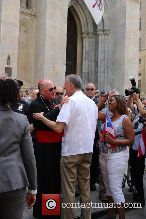 His Eminence Timothy Cardinal Dolan Archbishop Of New York and Mayor Bill Deblasio 2