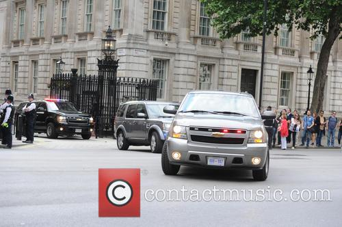 Michelle Obama seen Leaving Downing Street after meeting...