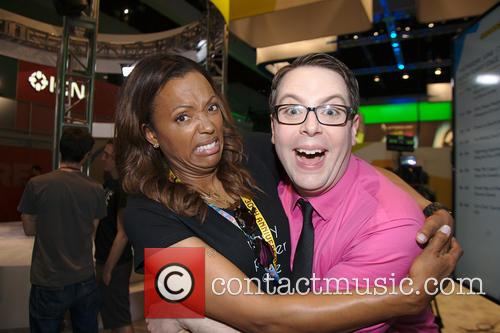 Aisha Tyler and Greg Miller
