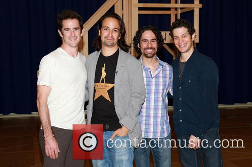 Andy Blankenbuehler, Lin-manuel Miranda, Alex Lacamoire and Thomas Kail 2