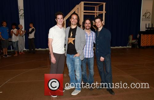 Andy Blankenbuehler, Lin-manuel Miranda, Alex Lacamoire and Thomas Kail 1