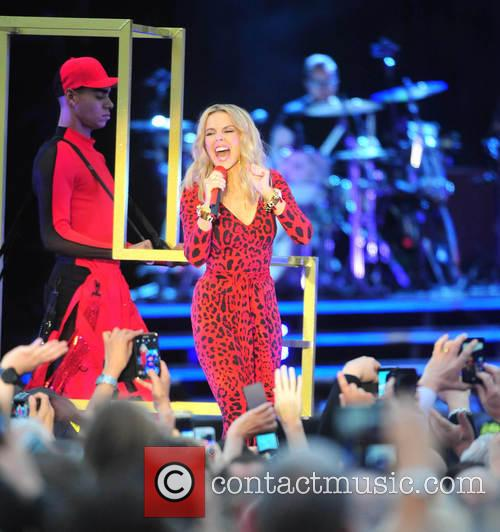Kylie Minogue performs at Haydock Park Racecourse