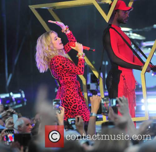 Kylie Minogue performs live at Haydock Races