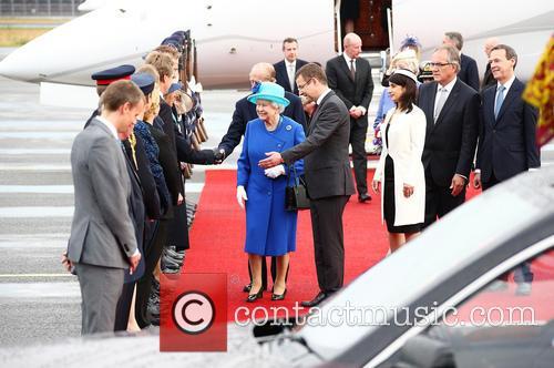 Queen Elizabeth II arrives at Tegel International Airport...