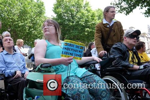 Disability protesters campaigning for the Independent Living Fund...