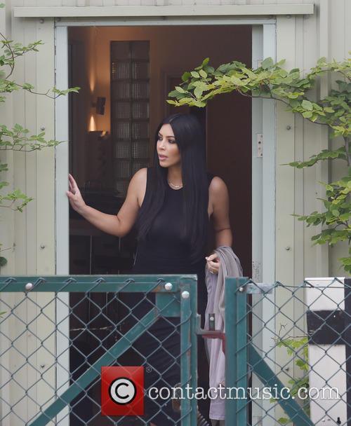 Kim Kardashian and Kanye West leave Denim Airfield...