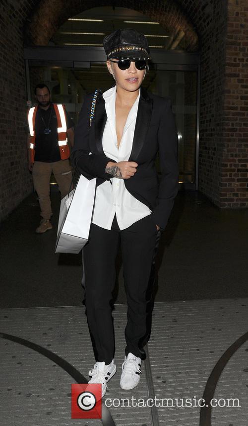 Rita Ora arrives back in London on a...